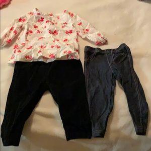 Carters corduroy pants, floral blouse,leggings